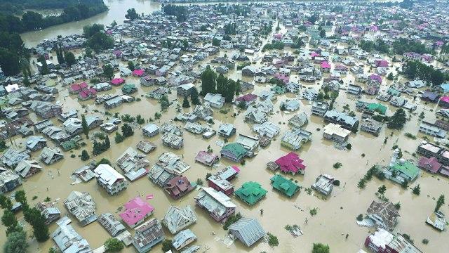 An Aerial view of inundated Jawahar Nagar Srinagar.