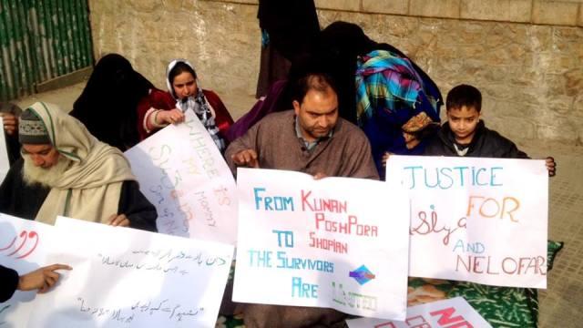 Family of Asiya, Neelofar staging Sit-In in Shopian as people vote on Sunday.