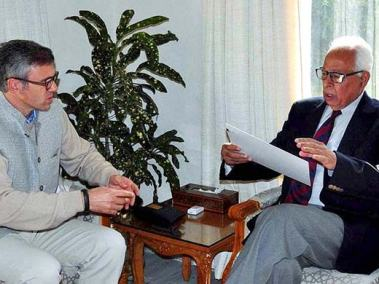 Omar Abdullah submitting his resignation to Governor NN Vohra after December 23 assembly poll results.