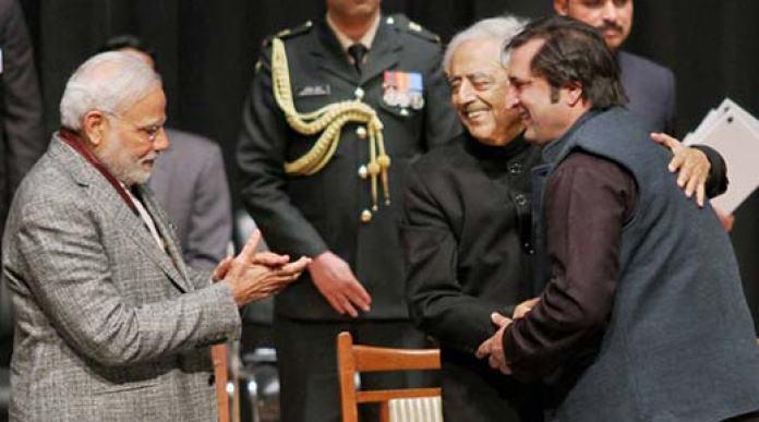 Sajjad-Lone-with-Narendra-Modi-and-Mufti-Sayeed
