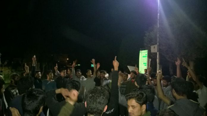 Students assembled in lawns of KU and protesting against the killings
