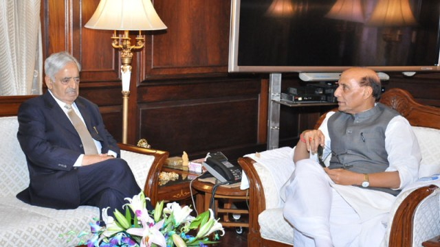 Mufti Mohammad Sayeed With Union Home Minister,  Rajnath Singh in this file photo.