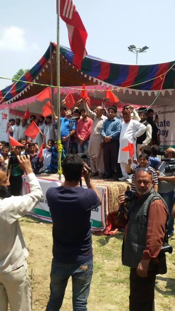 Independent Legislator from North Kashmir's Langate Constituency Er Rashid at 'State Falf Unfurling Ceremony' in Srinagar on June 07, 2015.