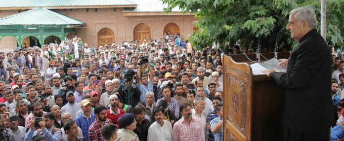 CM Mufti Sayeed addressing people at Martyrs graveyard on Monday after paying floral tributes to Martyrs of July 13, 1931.
