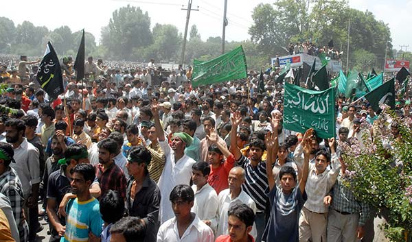 A file photo showing a protest march in 2008.
