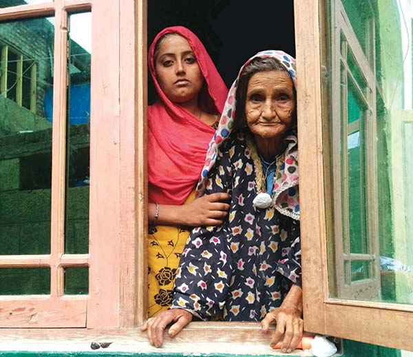 Asiya with her grandmother Faze at their one room house in Srinagar. Pic: Humera Ashiq Hussain.