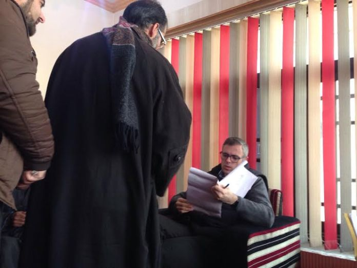 Omar Abdullah meeting delegations in Beerwah assembly constituency on Friday, Dec 18, 2015.