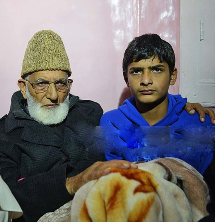 Syed Ali Geelani with Ghalib Guru in this file picture.