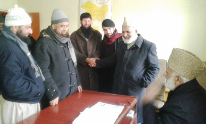 JeI Ameer with Mohammad Ashraf Sehrai at Geelani's residence.