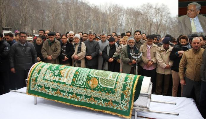 The funeral prayers of Mufti Mohammad Sayeed led by Naeem Akhtar.
