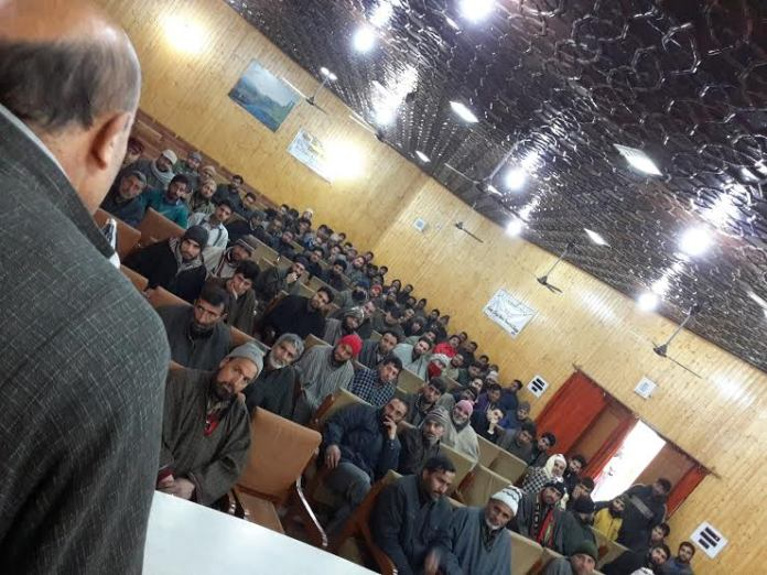 Er Rasheed addressing Awami Ittihaad Party (AIP) workers in Town Hall Kupwara on Thursday.
