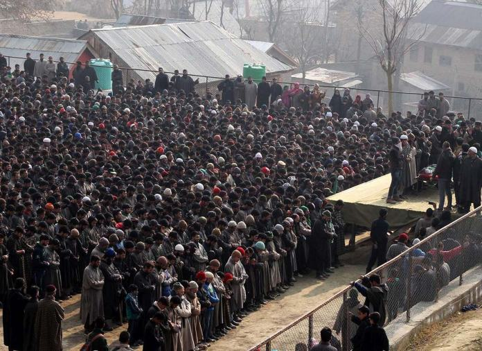 December 31, 2015: Funeral of a militant who was killed along with a non-local militant at Gusoo Pulwama during a midnight gunfight with Indian Army. (KL Image: Bilal Bahadur)