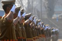 Jammu and Kashmir paramilitary soldiers march during the full dress rehearsal for the Republic Day parade in Srinagar, on Sunday 24 January 2016. PHOTO BY BILAL BAHADUR