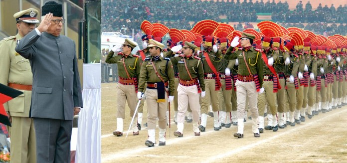 Governor taking salute at R-Day.