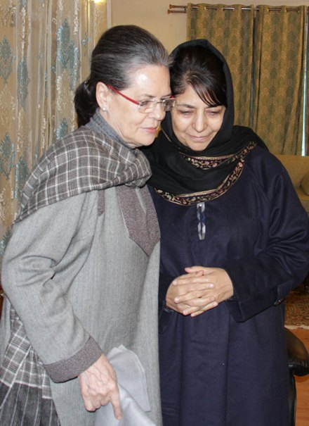 Fairview Residence: Sonia Ghandhi with Mehbooba Mufti on Sunday (Jan 10, 2015) to offer condolences on the demise of former CM Mufti Mohammad Sayeed.