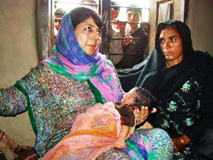 Mehbooba left no spot to grieve and was perhaps the only unionist who managed reaching Gool in 2013 to celebrate the birth of orphan (in pic) whose father was killed only days before.