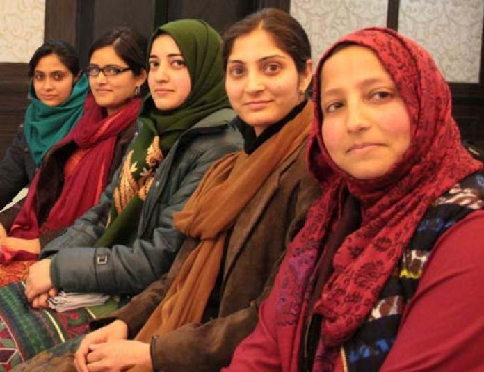 L to R: Natasha Rather, Ifrah Butt, Munaza Rasheed, Samreena Mushtaq and Essar Batool.