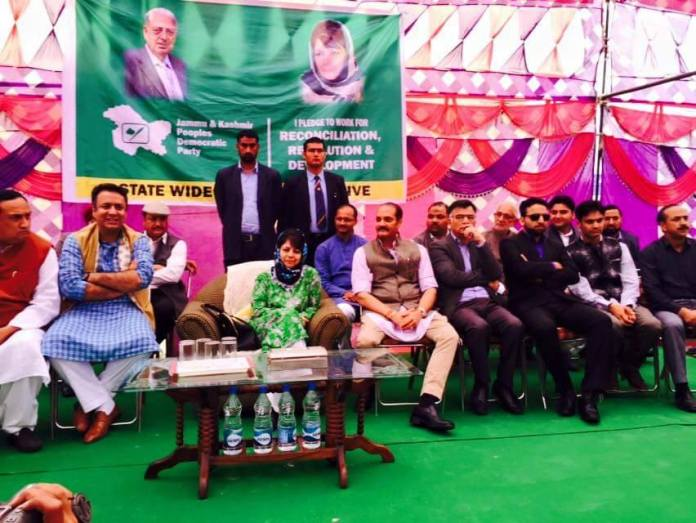 PDP president Mehbooba Mufti during her party's membership drive in Jammu.