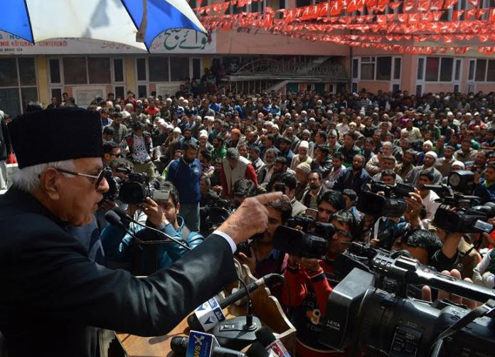 Jammu and Kashmir National Conference Party President Dr. Farooq Abdullah addressing a party workers gathering during a joining function at party headquarter Nawa-e-Subha Complex in Srinagar on TuesdayPHOTO BY BILAL BAHADUR