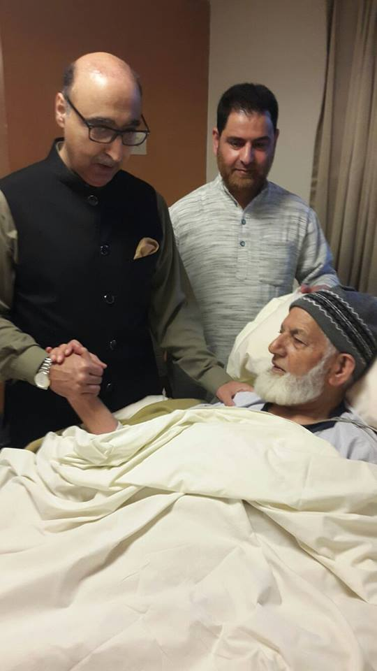 Pakistan High Commissioner visited ailing Hurriyat patriarch, Syed Ali Geelani, at Max Hospital in New Delhi on Friday. Pak High Commission also held a special prayer meeting for Octogenarian's health in its office premises today.