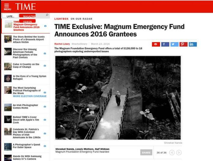 The scree shot of TIME magazine exclusive story detailing the grant given to 18 photo-journalists across the world. (Downloaded on March 23 @ 6:30 PM)