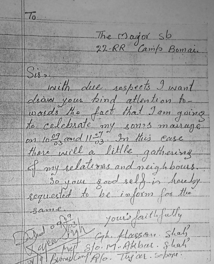Photocopy of the letter addressed to the army major.
