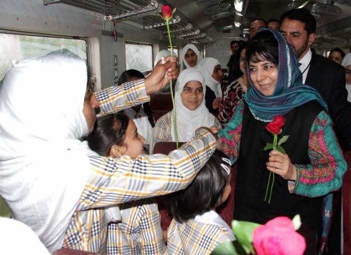 CM Mehbooba being greeted by students with flowers on May 05, 2016