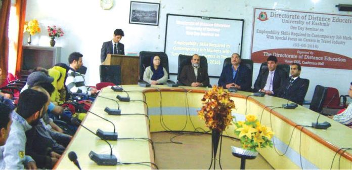 University of Kashmir's Directorate of Distance Education (DDE) on May 03, 2016 held a seminar-cum-workshop on 'employability skills.'