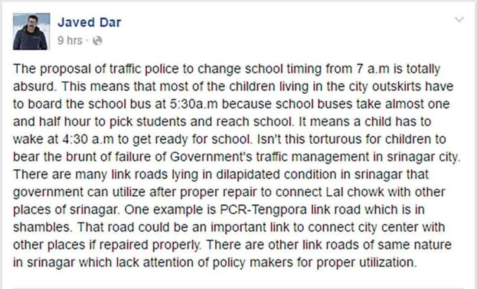 Photo-Journalist, Javed Dar, makes a comment about the proposed early schooling to ease the traffic mess. (Downloaded on May 03, 2016 @ 6: 20 PM)