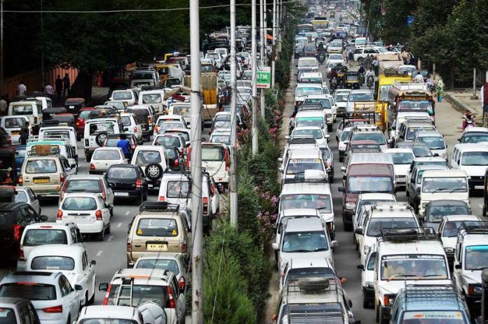 Traffic Jam in Lal Chowk