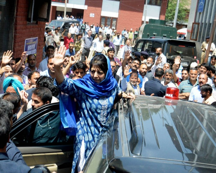 Jammu and Kashmir Chief Minister Mehbooba Mufti wave after filed her nominations for the Anantnag assembly segment bypoll on Wednesday PHOTO BY BILAL BAHADUR