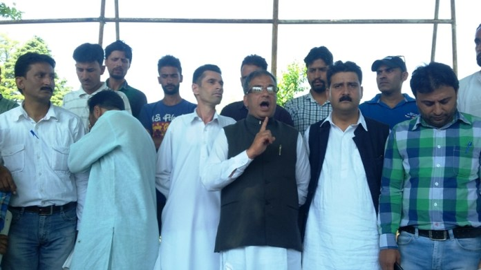 Congress' Hilal Shah and others protesting in Islamabad.