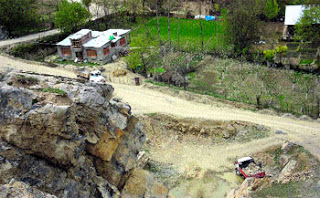 Quarrying works in the rare side of the cave - a file pic.