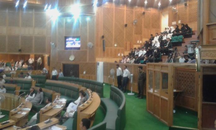 The Law students from university of Kashmir watching proceedings of Assembly on June 18, 2016.