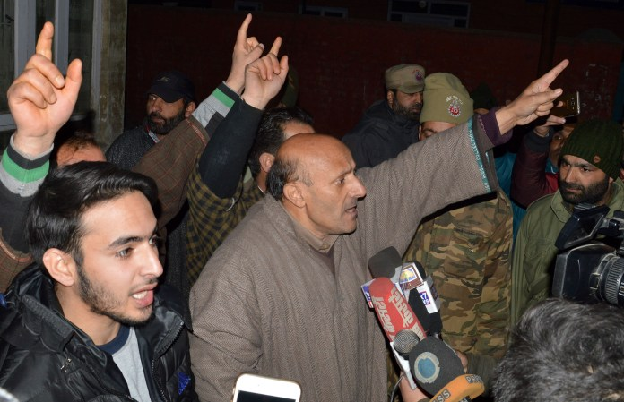 Er Rasheed at Press Enclave with his supporters on Thursday.