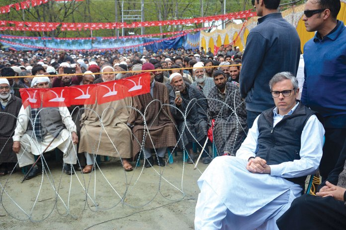Omar Abdullah during an election rally.