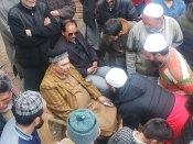 Raja Aijaz Ali being greeted by people in north Kashmir.