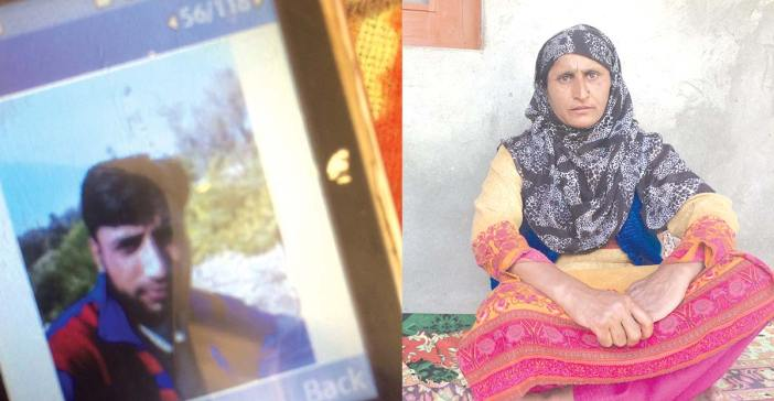 Shabir Ahmad Bhat was killed on April 09, 2017, when by-poll elections were held for Srinagar Lok Sabha seat. (Right) Shabir's mother Zareefa at her house in Dawlatpora in Chadoora.