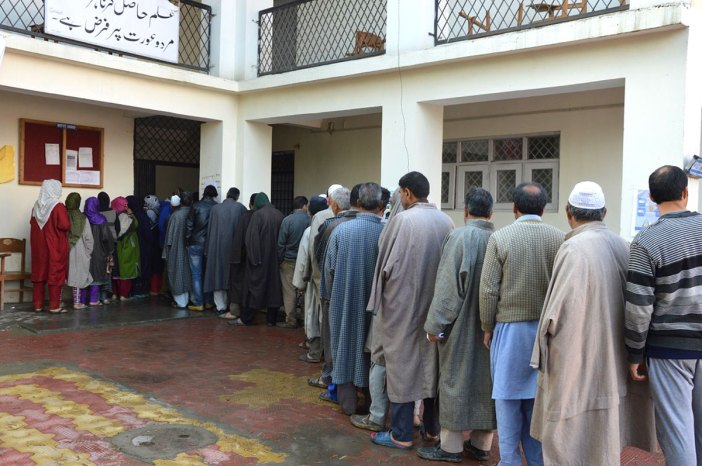 Voters in queue at a polling booth. Kashmir