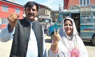 Voters after their votes in South Kashmir.