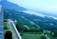 An aerial view of Royal Golf Course, Srinagar.