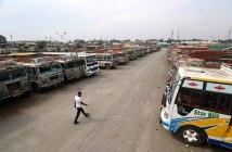 Public transport buses are parked inside Parimpora stand. KL Image: Bilal Bahadur