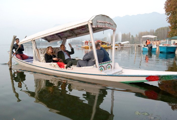 EU delegation enjoying a Shikara ride in Dal Lake Srinagar. KL Image by Bilal Bahadur