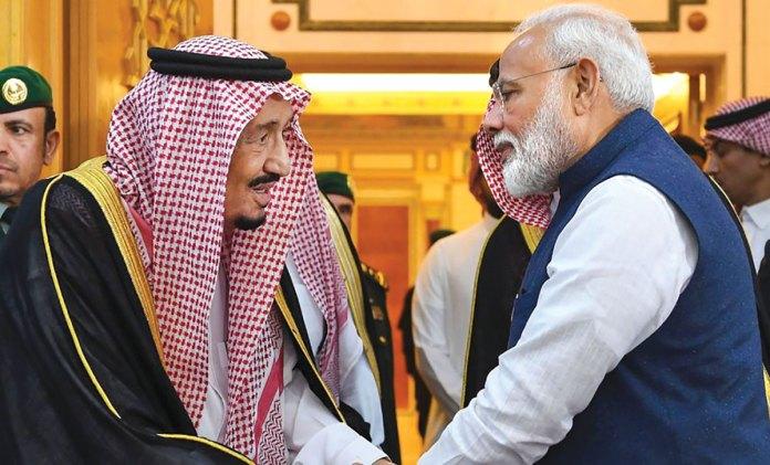 PM Narendra Modi with Saudi Arabia leader.