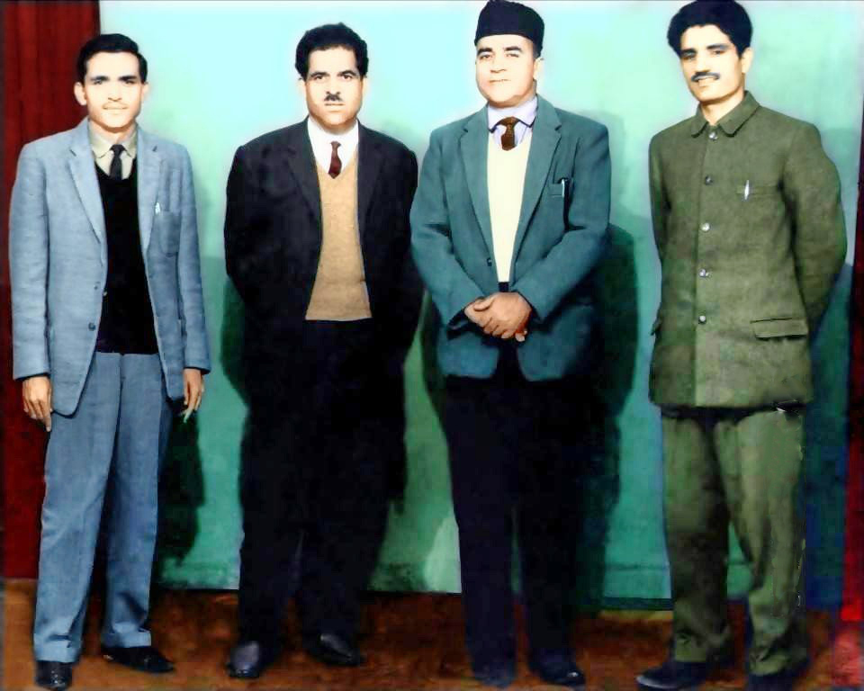 In this undated photograph Amanullah Khan (left) with Maqbool Bhat (right) and other JKLF leaders