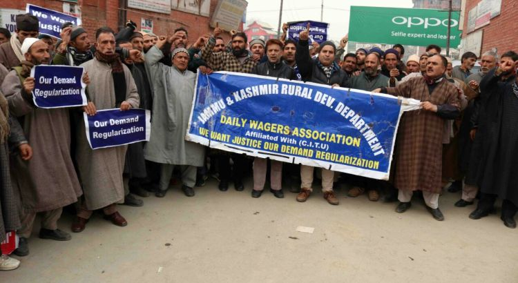 Daily wage employees demand regularisation of services
