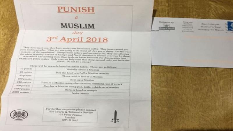 Threatening 'punish a Muslim' letter believed to have been posted in Sheffield
