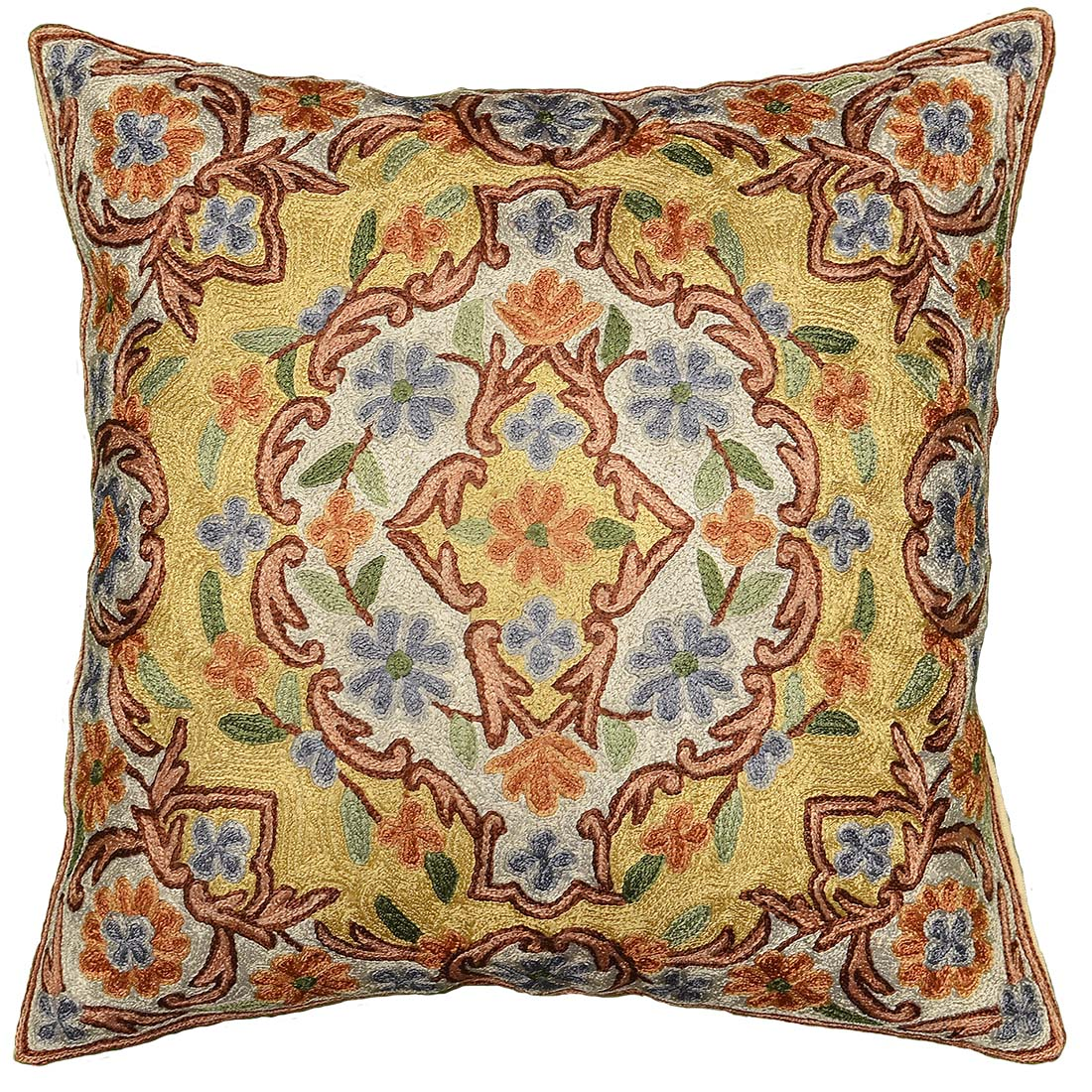 Floral Verbascum Hand Embroidered Pillow Cover 16 x 16