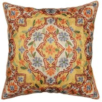 Floral Verbascum Hand Embroidered Pillow Cover 16 x 16 ...