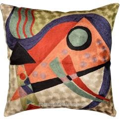 Sofa Paintings Abstract Havertys Leather Sleeper Sofas Kandinsky Composition Orange Silk Throw Pillow